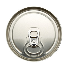 Closed aluminum can isolated on white
