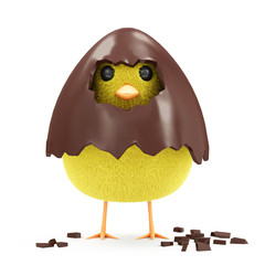 Little Chicken in Broken Chocolate Easter Egg isolated on white