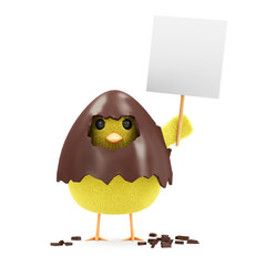 Little Chicken with Blank Board in Broken Chocolate Easter Egg