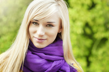 Beautiful blond woman- outdoor spring  portrait