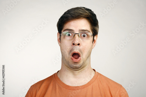 Portrait of a Man Surprised Face Expression