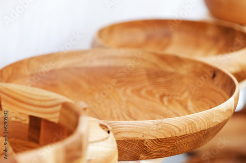 Wooden plates in the handicraft mart
