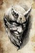 tattoo devil hell, illustration, handmade draw over vintage pape