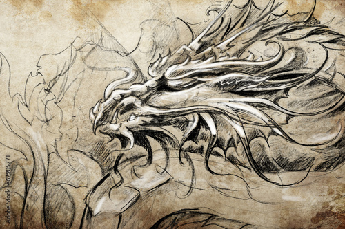 Medieval dragon head. Tattoo design over grey background. textur