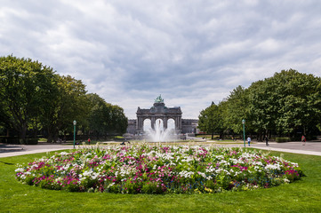 The Triumphal Arch in Cinquantenaire Parc in Brussels, Belgium w