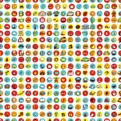 Icons and circles seamless pattern