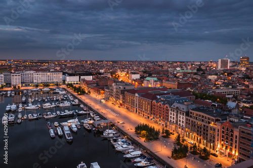 Aerial view to the harbor of Antwerp from the roof