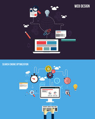 Icons for graphics seo and web design. Flat style. Vector