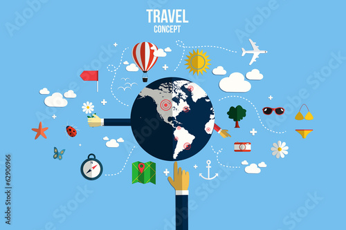 Modern vector illustration icons set of traveling, planning a su