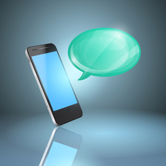 Mobile phone with glossy speech bubble.