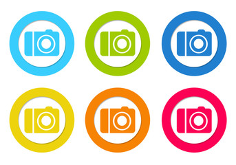 Colorful rounded icons with camera symbol
