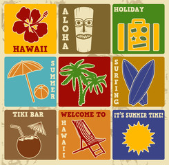 Set of vintage Hawaii labels or posters