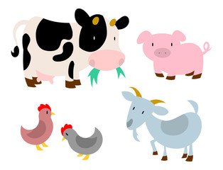 Barnyard Animals: Cow, Pig, Chickens, Goat