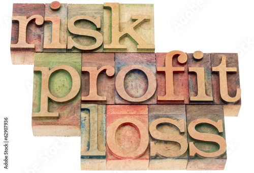 risk, profit, loss words in wood type