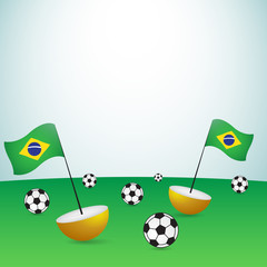 brazil flags and football balls