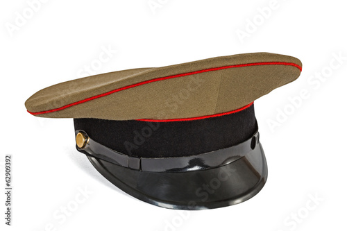 Peaked cap the soldier army, isolated on white background, with