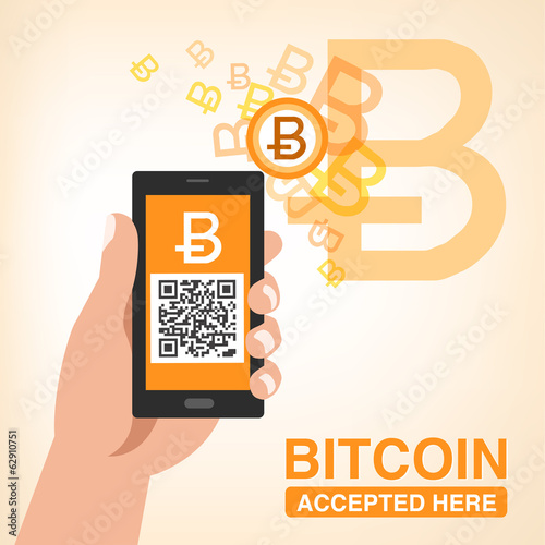 ビットコイン 使えます Bitcoin Accepted, Smartphone with QR code