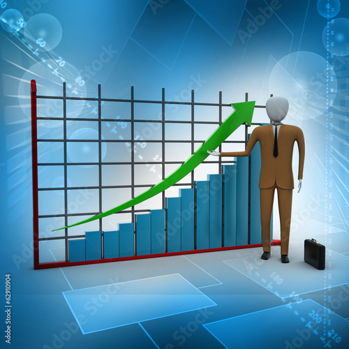 business man standing near a financial graph