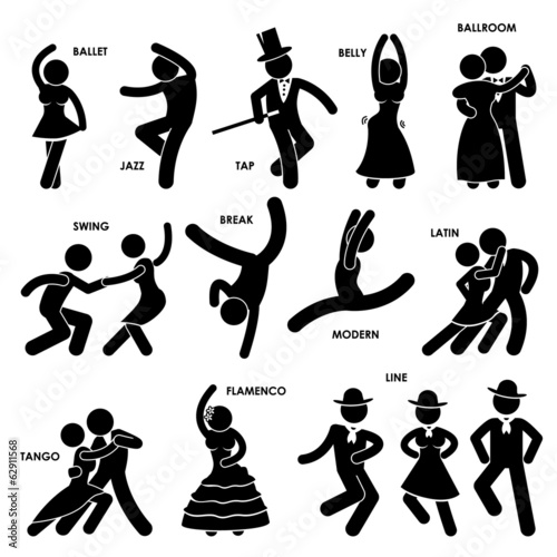 Dancing Dancer Stick Figure Pictogram Icon - 62911568