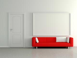 Modern home interior with red sofa and painting. 3D.