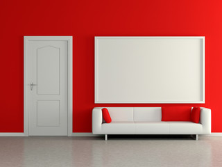 Modern home interior with sofa, red wall and painting. 3D.