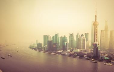 sunset at shanghai china