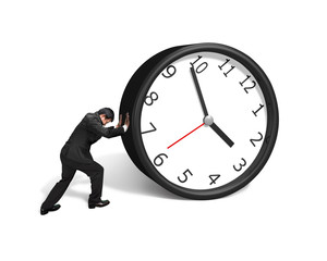 Man rolling clock