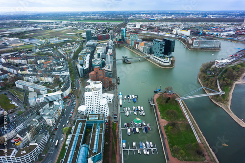 Wide angle picture of river Rhine, Duesseldorf. Seen from the te