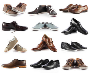 Male shoes collection.  men shoes over white background