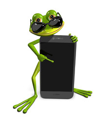 frog with a smartphone