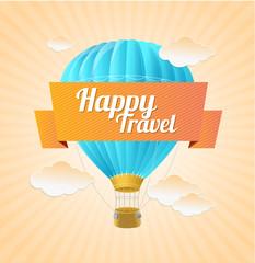 Vector air ballon, blue sky and slogan. Travel