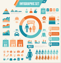 Vector Infographics Elements. Shopping