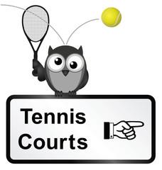 Monochrome tennis courts sign