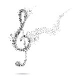 Treble clef and notes - 62913136