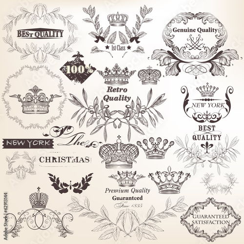 Collection of vector decorative elements, flourishes and labels