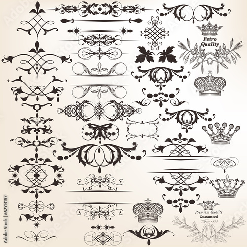 Collection of vector decorative elements for design