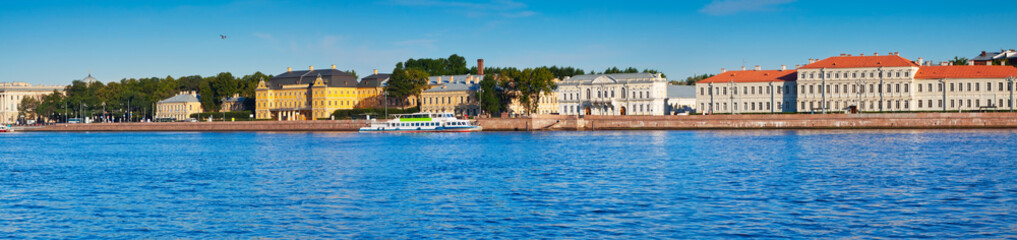 Panoramic view of  Vasilyevsky Island in summer day