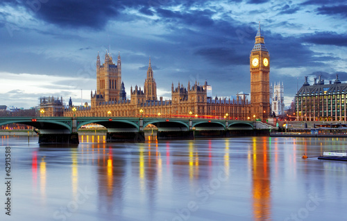 canvas print picture London - Big ben and houses of parliament, UK