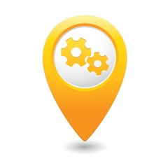 Map pointer with settings icon