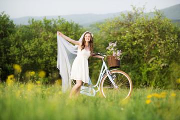 Bride with bike