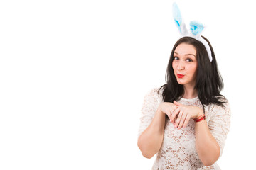 Funny woman with bunny ears