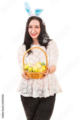 Happy woman with Easter basket