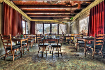 Abandoned restaurant dining room