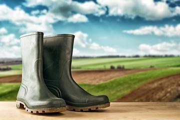Green rubber boots for garden work