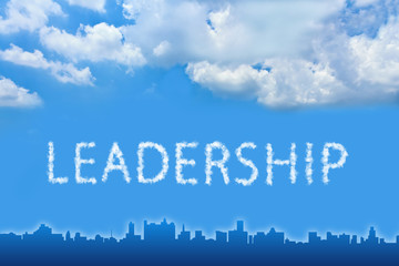Leadership text on cloud with blue sky
