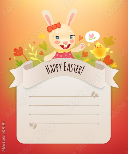 Happy Easter Bunny Girl Greeting Card.