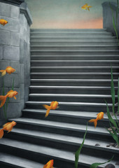 Background  with  stairs and goldfish.