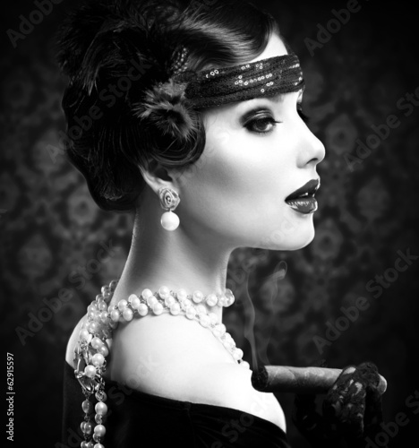 Retro B&W Portrait. Vintage Styled Girl With Cigar