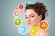 Pretty young girl with colorful vitamin icons and symbols - 62915762