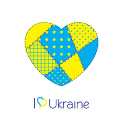 Patchwork heart in Ukraine national flag colors